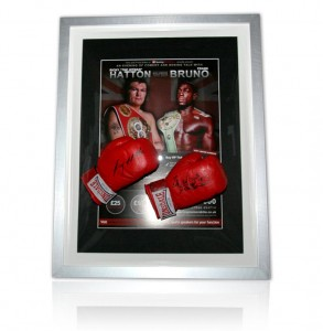 Hatton and Bruno signed Boxing Gloves