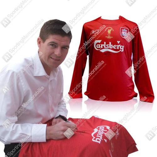 Steven Gerrard Signing Liverpool Shirt