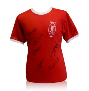 Liverpool 1965 FA Cup final replica jersey shirt - signed by 9 of the team
