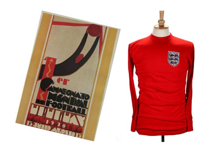 Uruguay 1930 World Cup poster & Sir Geoff Hurst's 1966 original shirt
