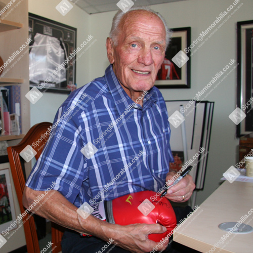 Sir Henry Cooper Signing Boxing Glove