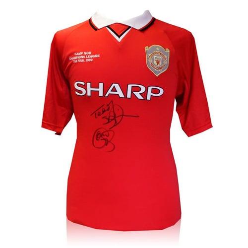Teddy Sheringham & Ole Gunnar Solskjaer signed Manchester United shirt