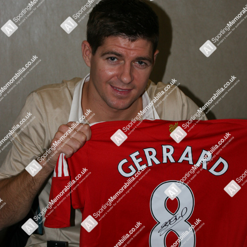 Steven Gerrard with signed Liverpool shirt