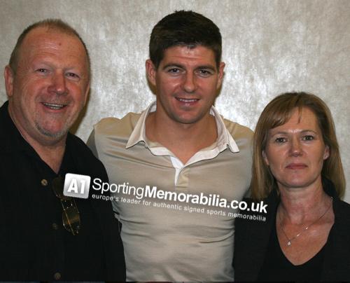 Steven Gerrard with A1 Sporting Memorabilia Directors Terry & Freda Baker