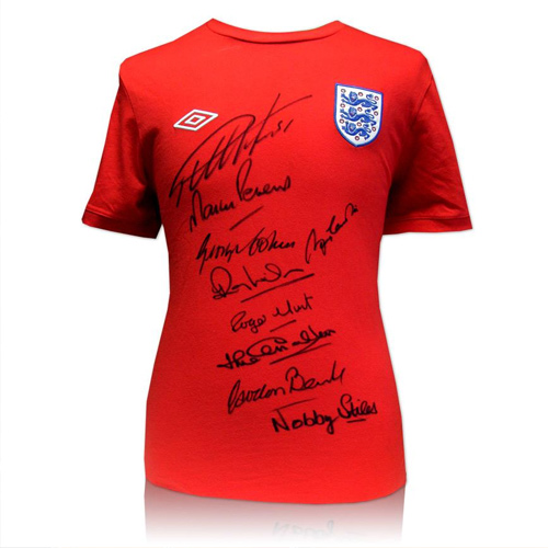 England shirt hand signed by 9 of the 1966 England team including Sir Bobby Charlton