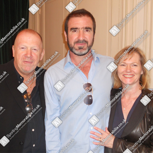 Eric Cantona with Terry & Freda Baker, Directors of A1 Sporting Memorabilia