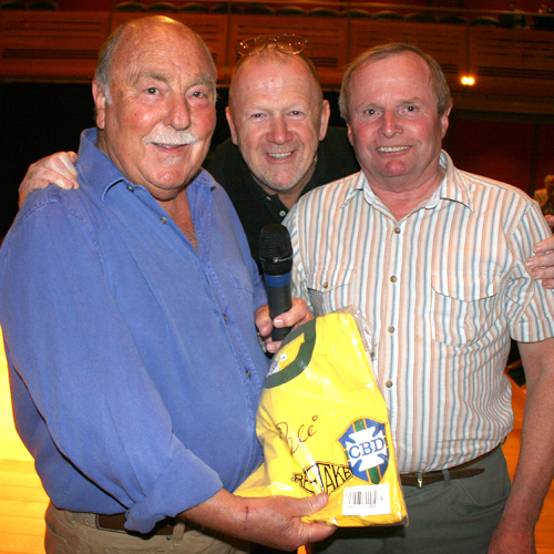 Jimmy Greaves & Terry Baker with winner of the signed Pele shirt raffle.
