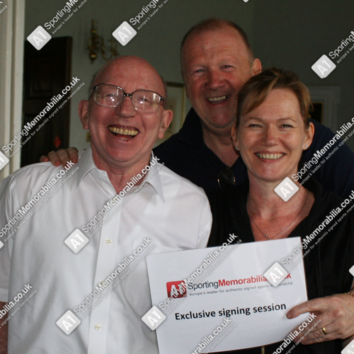 Nobby Stiles with A1 Sporting Memorabilia Directors Terry & Freda Baker