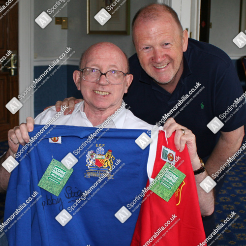 A1 Sporting Memorabilia Director Terry Baker with Nobby Stiles and his signed shirt