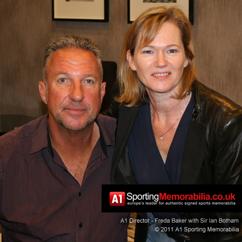 A1 Sporting Memorabilia Director - Freda Baker with Sir Ian Botham