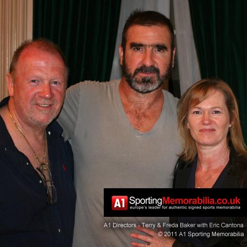 Eric Cantona with A1 Sporting Memorabilia Directors Terry & Freda Baker