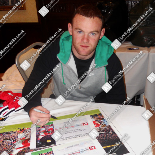Wayne Rooney signing Manchester United Football Memorabilia for A1 Sporting Memorabilia
