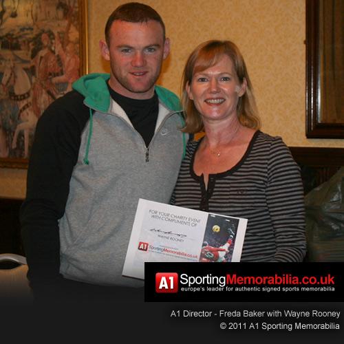 A1 Sporting Memorabilia Director Freda Baker with Steven Gerrard