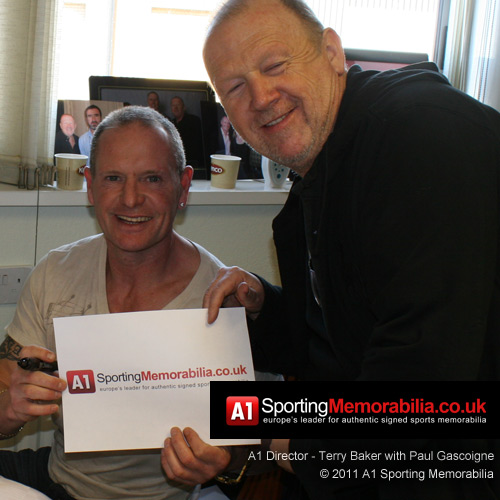 Paul Gascoigne with Terry Baker at private signing session for A1 Sporting Memorabilia