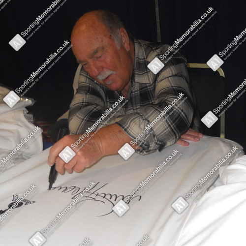 Jimmy Greaves signing Tottenham shirts for A1 Sporting Memorabilia