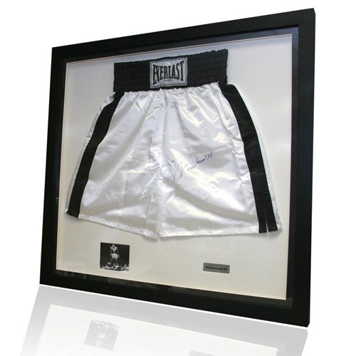 Framed Muhammad Ali autograph signed boxing shorts