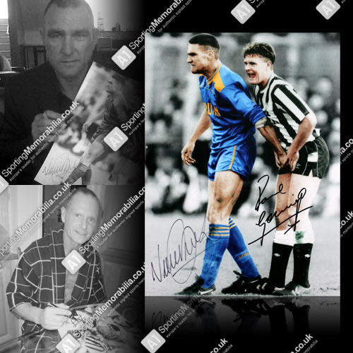 Paul Gascoigne & Vinnie Jones Dual Signed Photo - Ball Squeeze