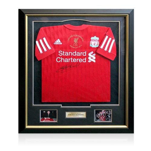 Framed Steven Gerrard signed Liverpool Carling Cup Final Shirt