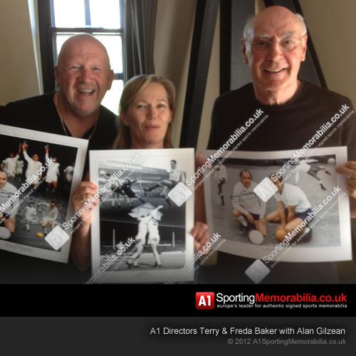 Alan Gilzean with A1 Sporting Memorabilia Directors Terry & Freda Baker