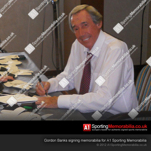 Gordon Banks signing memorabilia for A1 Sporting Memorabilia