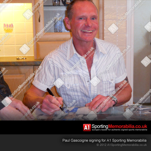 Paul Gascoigne Signing Autographs for A1 Sporting Memorabilia