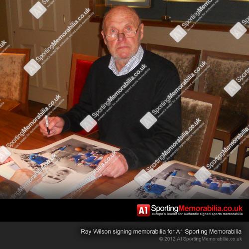 Ray Wilson signing memorabilia for A1 Sporting Memorabilia