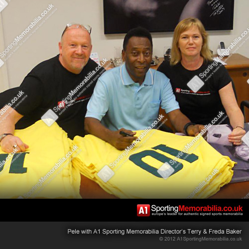Pele with A1 Sporting Memorabilia Director's Terry & Freda Baker