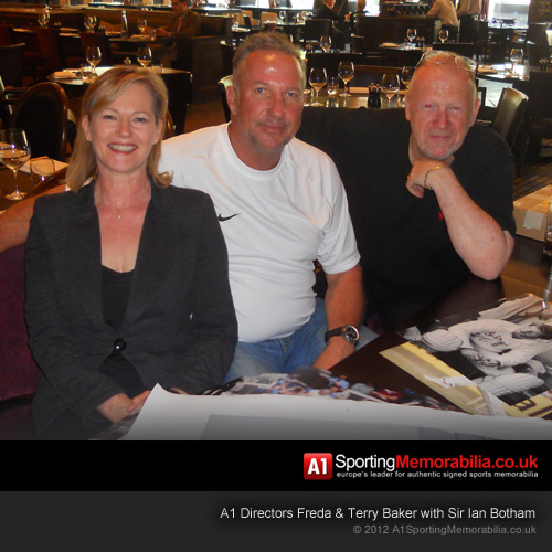 A1 Directors Freda & Terry Baker at signing session with Sir Ian Botham