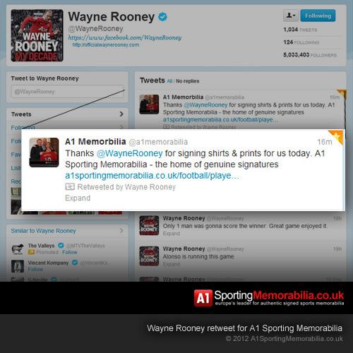 Wayne Rooney Retweet for A1 Sporting Memorabilia