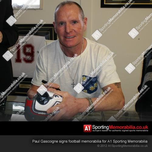 Paul Gascoigne signs football memorabilia for A1 Sporting Memorabilia