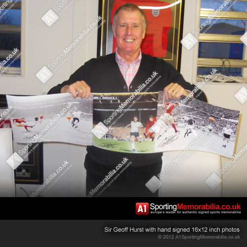 Sir Geoff Hurst with hand signed 16x12 inch photos