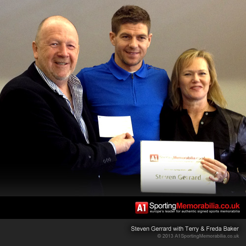 A1 Directors Terry & Freda Baker presenting donation to the Steven Gerrard Foundation