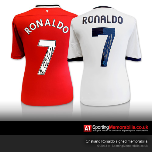 Cristiano Ronaldo signed football memorabilia