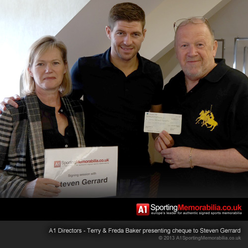 Steven Gerrard with Terry and Freda Baker of A1 Sporting Memorabilia