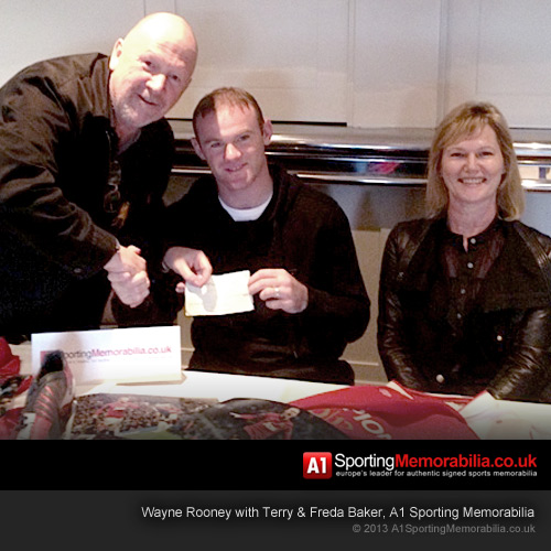 Wayne Rooney with Terry & Freda Baker of A1 Sporting Memorabilia