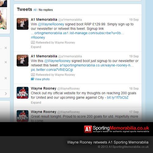 Wayne Rooney Retweets A1 Sporting Memorabilia