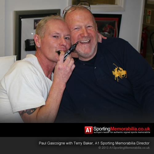 Paul Gascoigne with Terry Baker, A1 Sporting Memorabilia Director