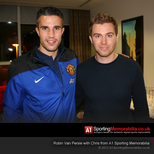 Robin Van Persie with Chris from A1 Sporting Memorabilia