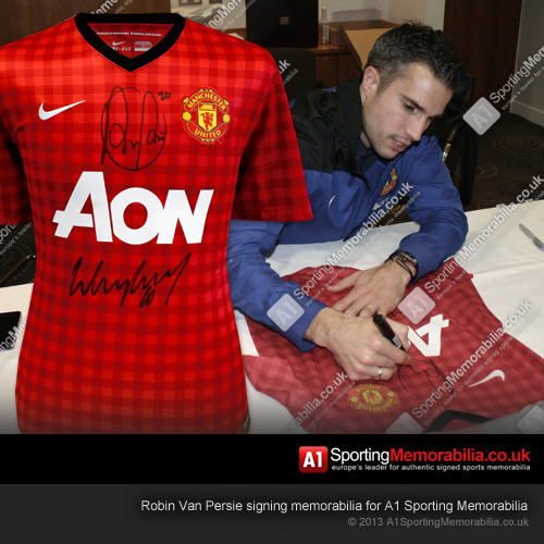 Robin Van Persie Signing Memorabilia for A1 Sporting Memorabilia