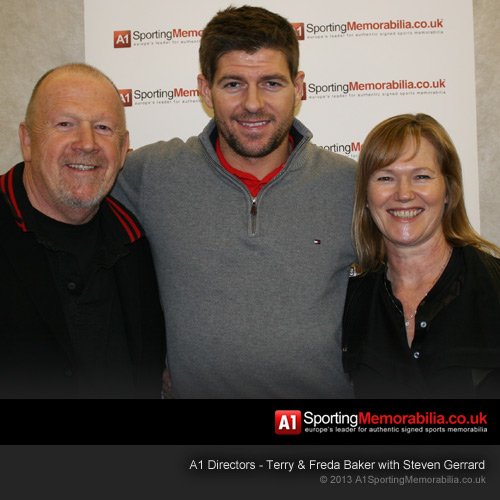 A1 Sporting Memorabilia Directors - Terry & Freda Baker with Steven Gerrard