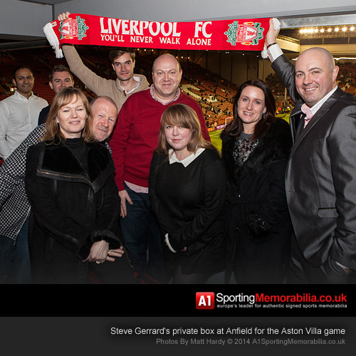 Steve Gerrard's private box at Anfield for the Aston Villa game