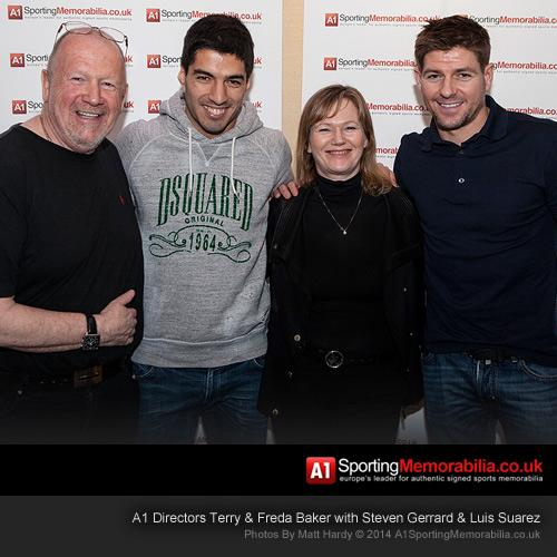 A1 Directors Terry & Freda Baker with Luis Suarez & Steven Gerrard