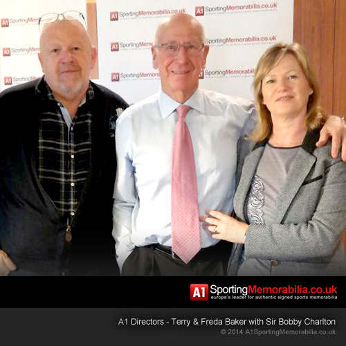 A1 Directors - Terry & Freda Baker with Sir Bobby Charlton