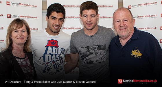 A1 Directors - Terry & Freda Baker with Luis Suarez & Steven Gerrard
