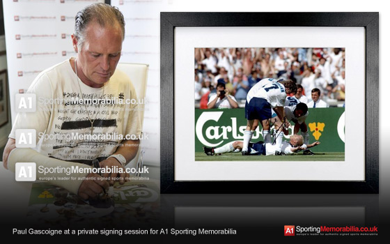 Paul Gascoigne at a private signing session for A1 Sporting Memorabilia