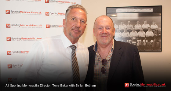 A1 Sporting Memorabilia Director, Terry Baker with Sir Ian Botham
