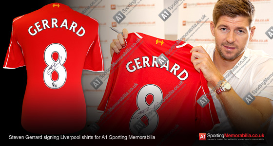 Steven Gerrard signing Liverpool shirts for A1 Sporting Memorabilia