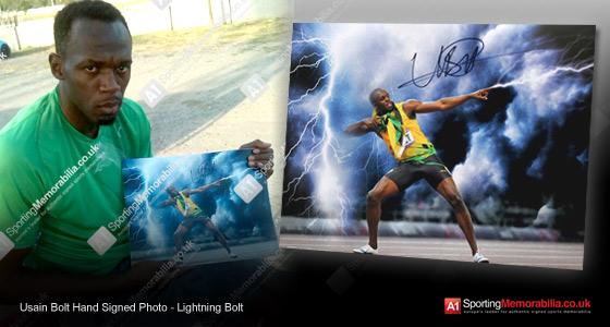 Usain Bolt Hand Signed Photo - Lightning Bolt