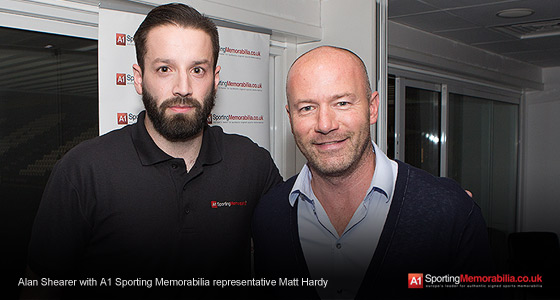 Alan Shearer with A1 Sporting Memorabilia representative Matt Hardy