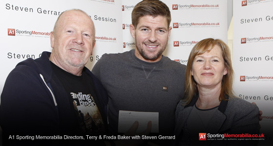 A1 Sporting Memorabilia Directors, Terry & Freda Baker with Steven Gerrard